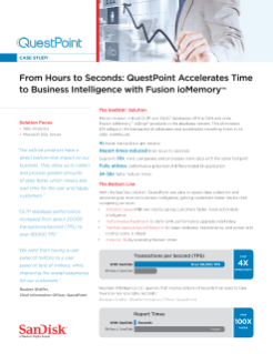 From Hours to Seconds: QuestPoint Accelerates Time to Business Intelligence with Fusion ioMemory Solutions